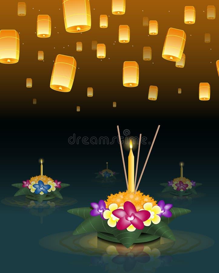 Loy Krathong与浮动灯笼的贺卡,泰国假日 皇族释放例证