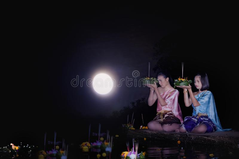 Loy Krathong Festival stockfotos