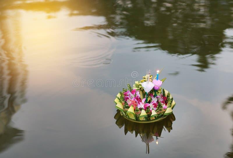 Loy Krathong festival, Krathong floating in pond for forgiveness Goddess Ganges to celebrate festival in Thailand stock image