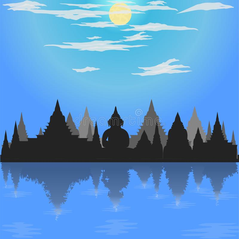 Loy krathong festival silhouette temple blue mode buddha culture moon asia thailand night river siam sky religion vector royalty free illustration