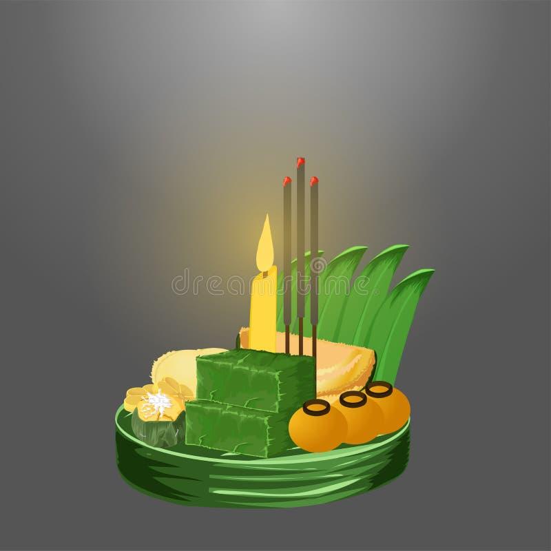 Loy krathong festival thai dessert vector illustration eps10 vector illustration