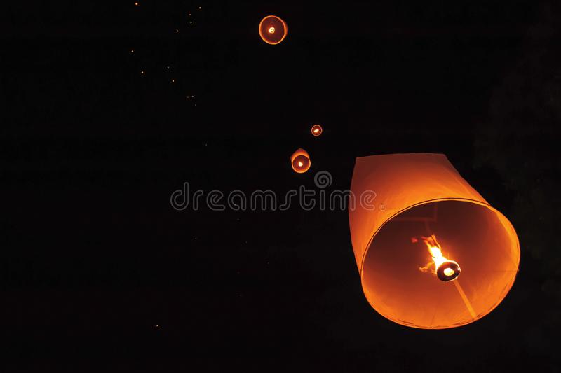Loy Krathong Festival in Thailand is floating in the night sky stock photos