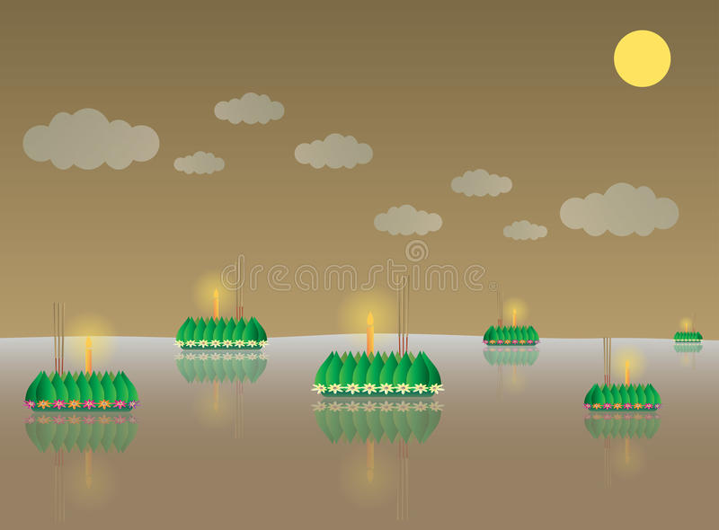 Download Loy Krathong, Festival Traditionnel Thaïlandais De Pleine Lune Illustration de Vecteur - Illustration du fleur, lune: 76089514