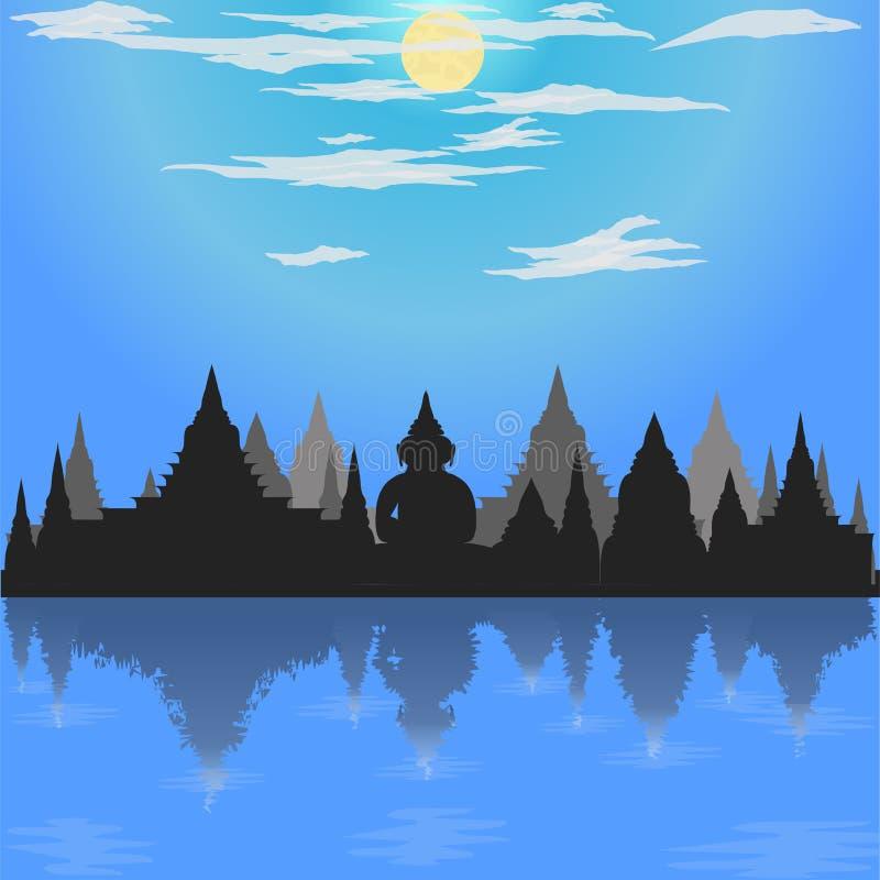 Loy krathong festiwalu sylwetki trybu Buddha kultury księżyc Asia Thailand świątynnej błękitnej nocy Siam nieba religii rzeczny w royalty ilustracja