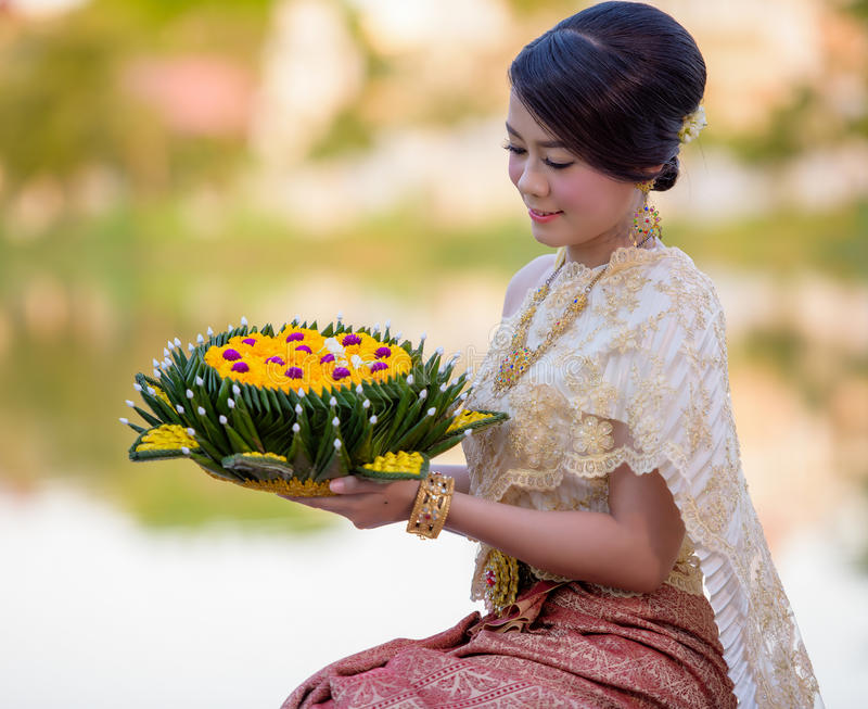 Loy Krathong Traditional Festiva foto de stock royalty free