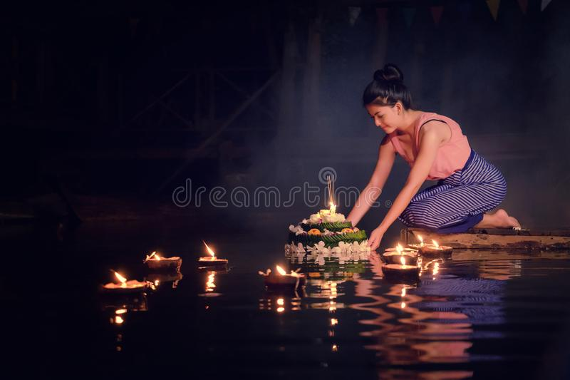 Loy Krathong Traditional Festival, Thai woman hold kratong, Thai stock photo