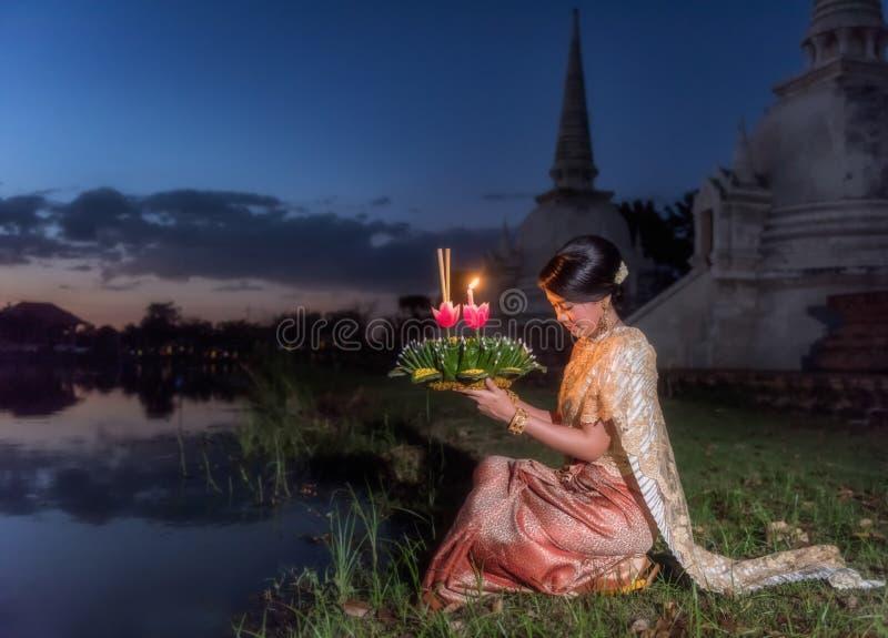 Loy Krathong Tradycyjny festiwal fotografia stock