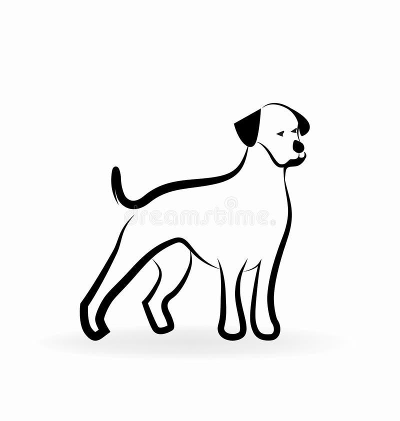 Loyale hond, lijnkunst, vectorpictogram vector illustratie