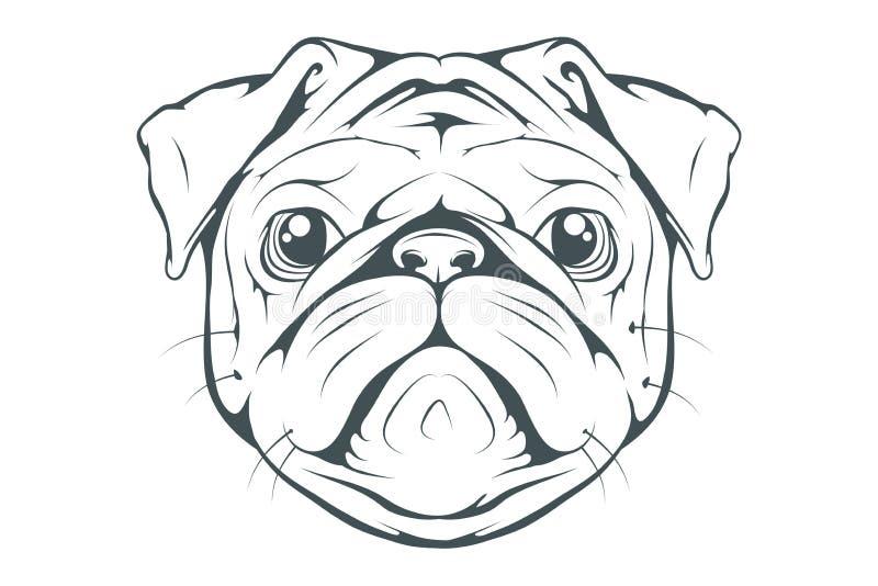 Loyaler Freund Kopf eines Pug Haustiere für Design lizenzfreie abbildung