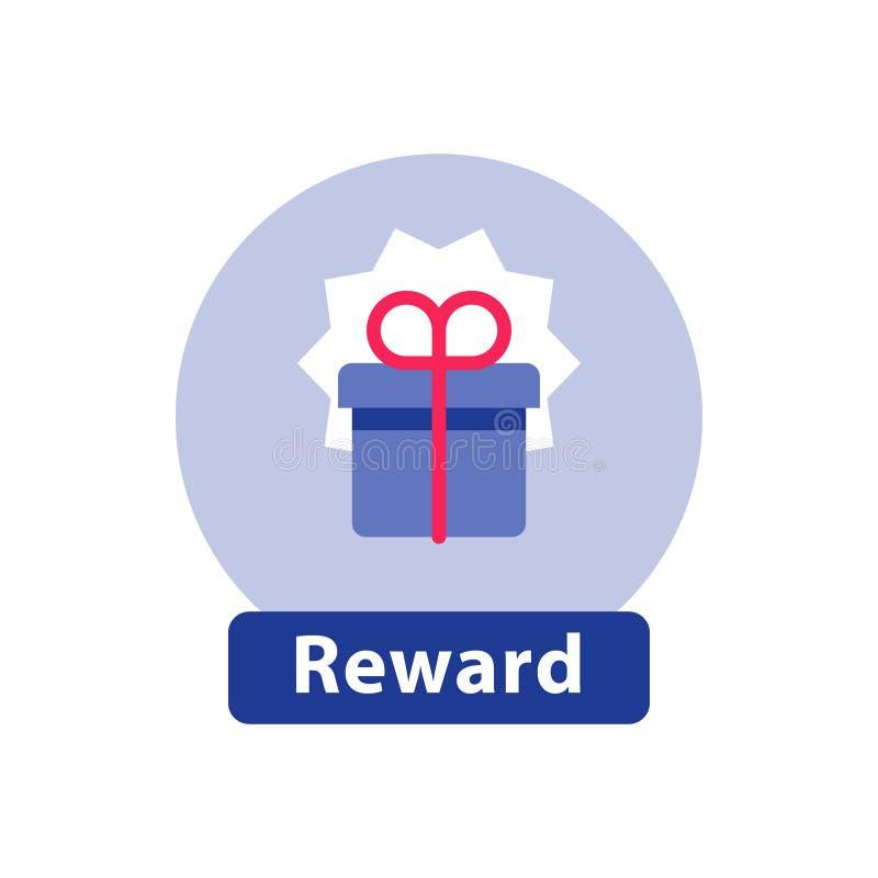 Loyalitätsbelohnung, überraschende Geschenkbox, Supergeschenk, Gewinnpreis, flache Ikone stock abbildung