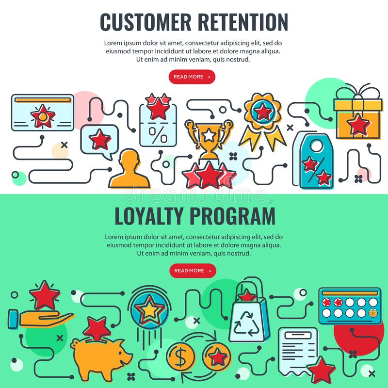Loyalty Program Customer Retention Banners. Loyalty Program and Customer Retention banners with colored line icons. Customer rewards with bonuses. Gift, discount royalty free illustration