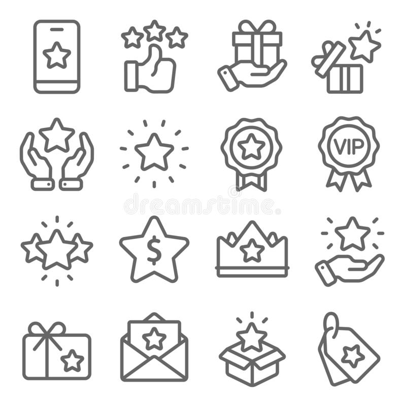 Loyalty Program icons set vector illustration. Contains such icon as VIP, Benefit, Voucher, Exclusive, Badge, Winner and more. Exp. Loyalty Program icons set vector illustration