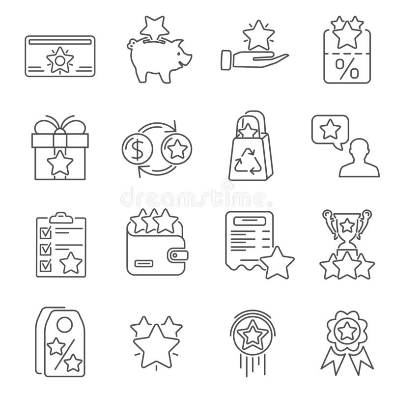 Free Loyalty Program Line Icons Set Stock Image - 169484531