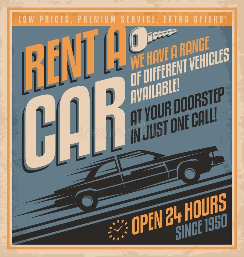Loyer démodé de style de bandes dessinées une conception d'affiche de voiture illustration de vecteur