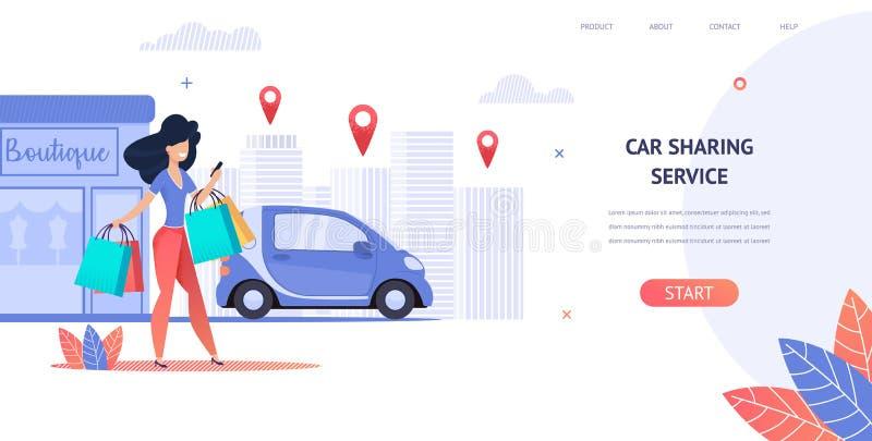 Loyer d'illustration une voiture utilisant l'application mobile illustration stock