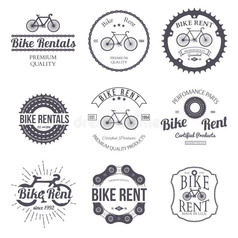 Loyer de vélo Ensemble de rétro logo de vintage Vecteur illustration stock