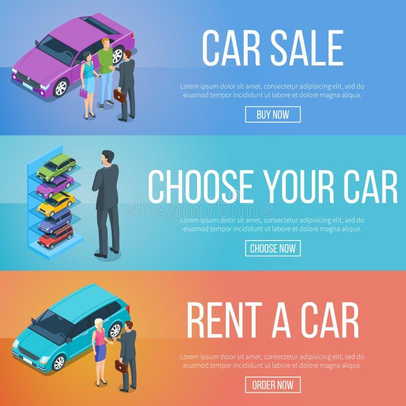 Loyer et vente des voitures illustration stock
