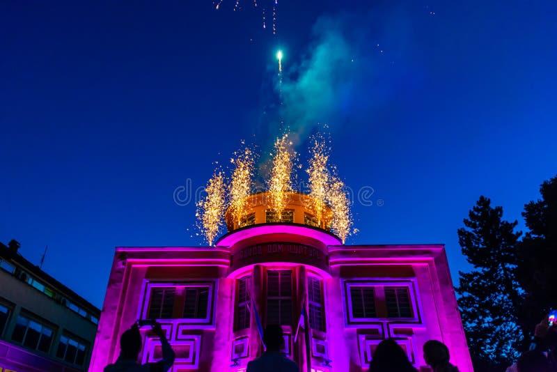 Fireworks in Loznica. Loznica, Serbia - July 10, 2019: Vuk`s House of Culture serbian: Vukov dom kulture in the center of Loznica. Fireworks in Loznica stock photos