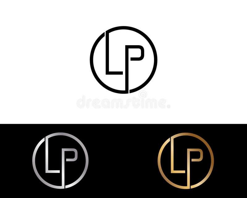 LP圈子形状信件商标设计 向量例证