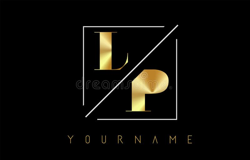 LP Golden Letter Logo with Cutted and Intersected Design. And Square Frame Vector Illustration vector illustration