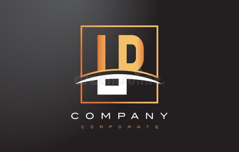 LP L lettera dorata Logo Design di P con il quadrato dell'oro e mormora illustrazione di stock