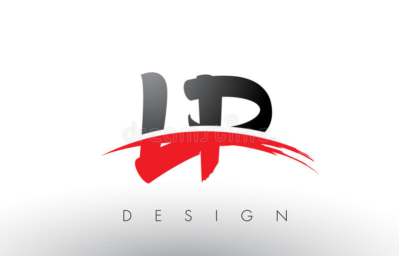 lp l p brush logo letters with red and black swoosh brush front rh dreamstime com