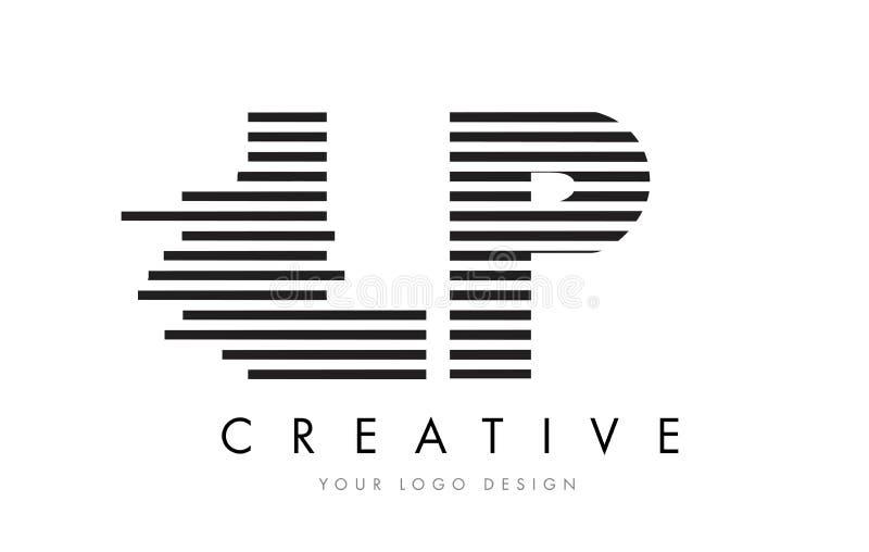 LP L P Zebra Letter Logo Design with Black and White Stripes vector illustration