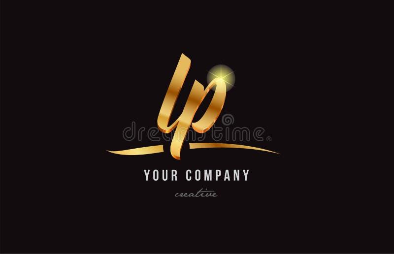 LP l progettazione della lettera di alfabeto dell'oro dell'icona di combinazione di logo di p royalty illustrazione gratis