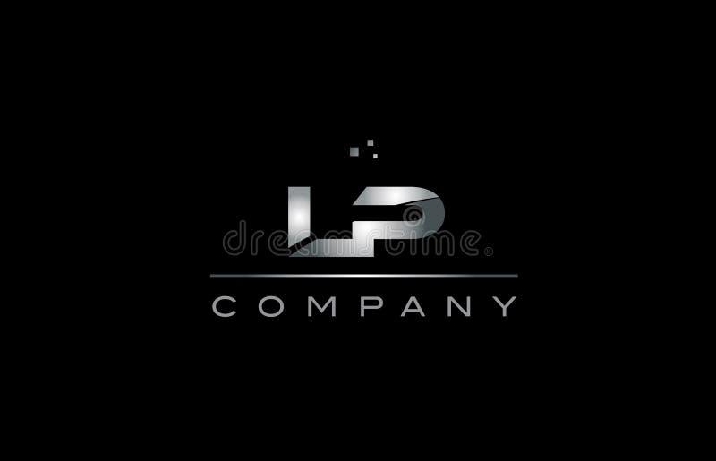 LP l tem metallico dell'icona di logo della lettera di alfabeto del metallo di grey d'argento di p illustrazione vettoriale