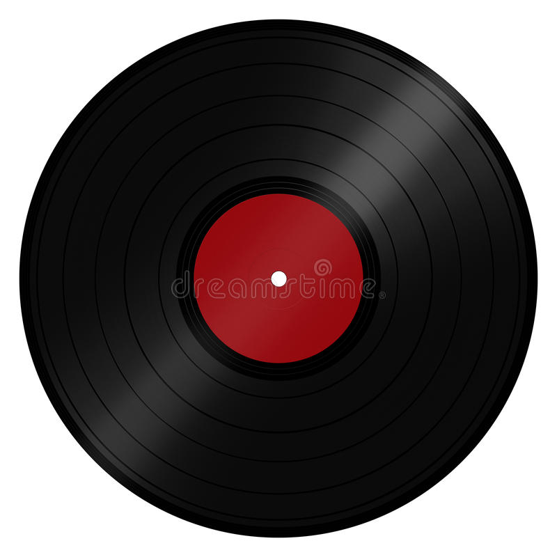 LP Vinyl Record. Classic retro/vintage music LP record disc popular with DJs and the disco scene. Isolated on a white background with clipping path royalty free illustration