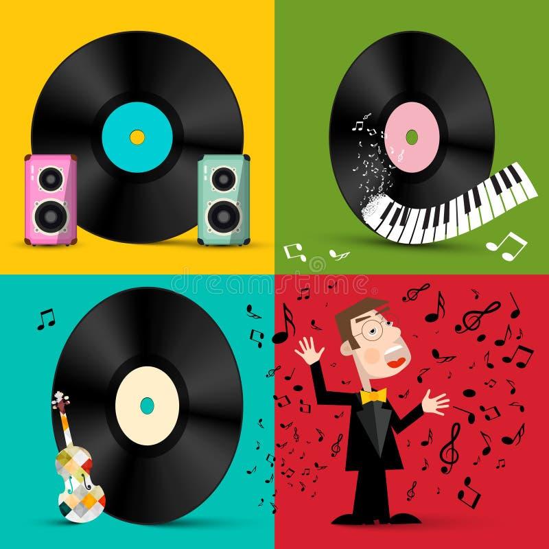 LP - Winylowego rejestru dyski z mówcami, Fortepianową klawiaturą, skrzypce i piosenkarzem, royalty ilustracja