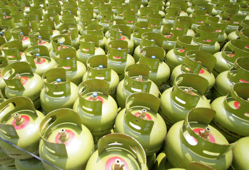 LPG GAS CYLINDERS stock image
