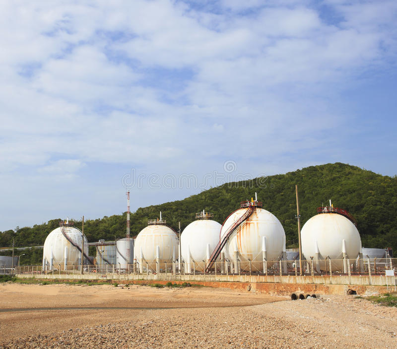 Lpg gas tank storage in petrochemical heavy industry estate use. For fuel power and energy topic stock image