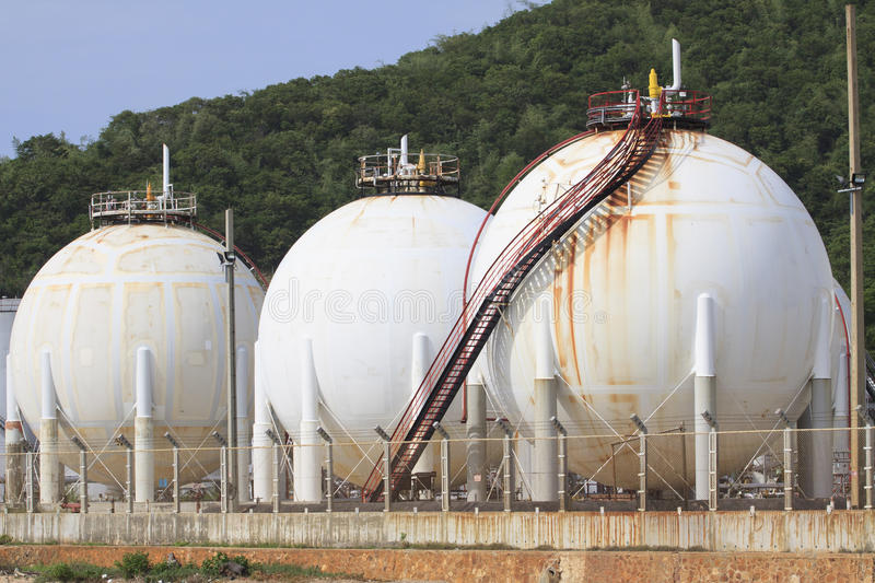 Lpg gas tank storage in petrochemical heavy industry estate use. For fuel power and energy topic stock images