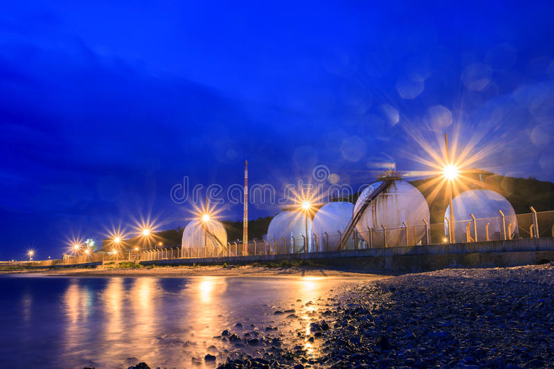 Lpg gas tank storage in petrochemical heavy industry estate use. For fuet power and energy topic royalty free stock images