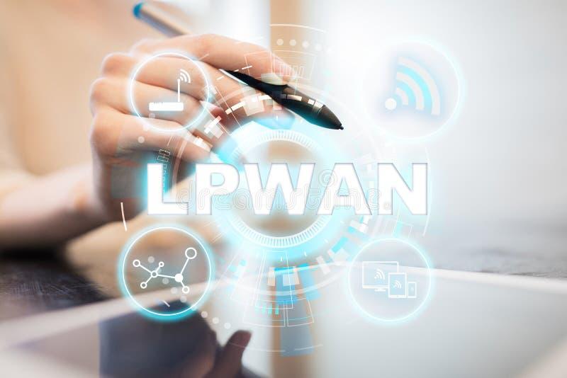 LPWAN - Сеть широкого пространства низкой мощности, современная технология, радиосвязь и концепция интернета стоковое изображение