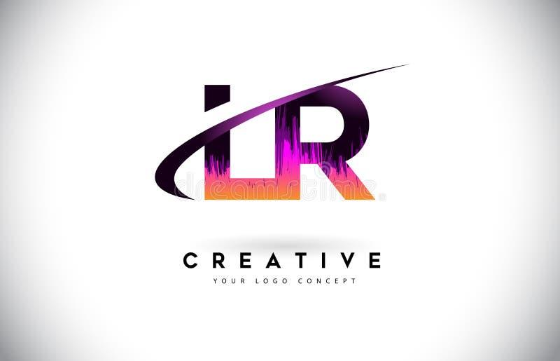 LR L R Grunge Brievenembleem met Purper Trillend Kleurenontwerp Cre royalty-vrije illustratie