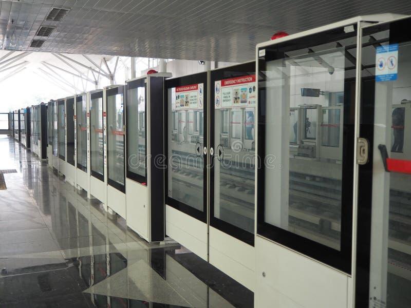 LRT Jakarta. Jakarta, Indonesia - June 17, 2019: The platform hallway of Kelapa Gading Boulevard Selatan LRT Station royalty free stock photos