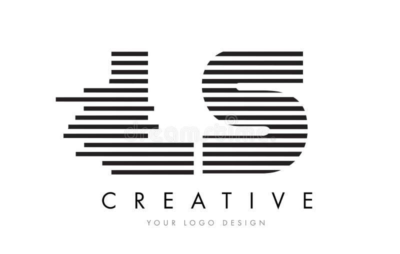 LS L S Zebra Letter Logo Design with Black and White Stripes stock illustration