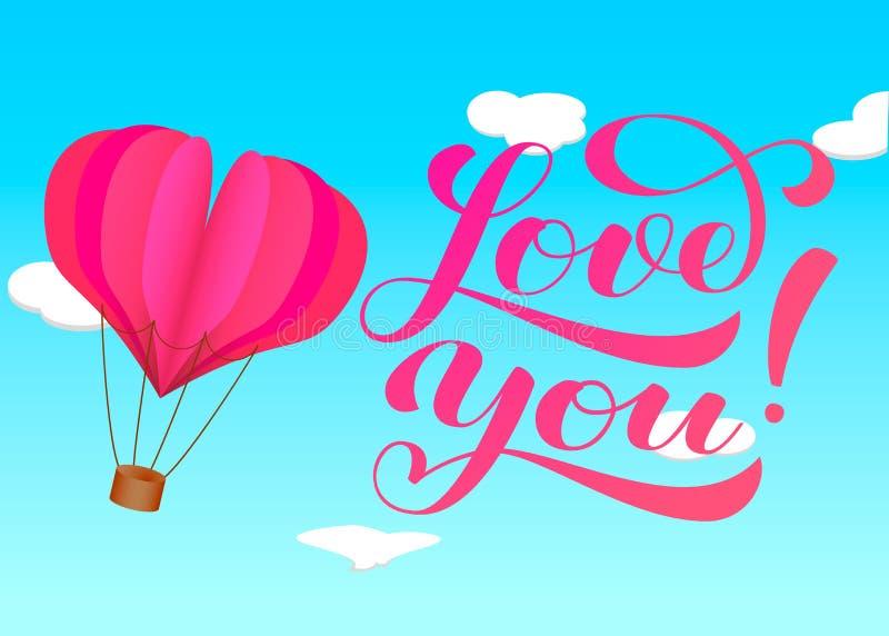 ?lska dig bokst?ver Ballong för varm luft med den pappers- hjärtaflötet pappers- konststil stock illustrationer