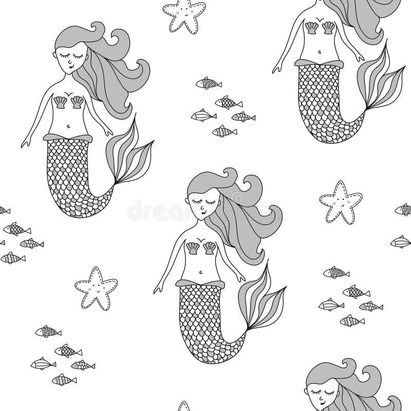?lskv?rd sealife texturerar med sj?jungfrun - det utdragna klottret f?r den roliga handen, s?ml?s modell vektor illustrationer