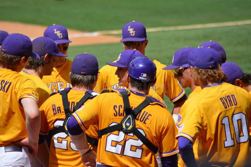LSU棒球杂乱的一团 图库摄影