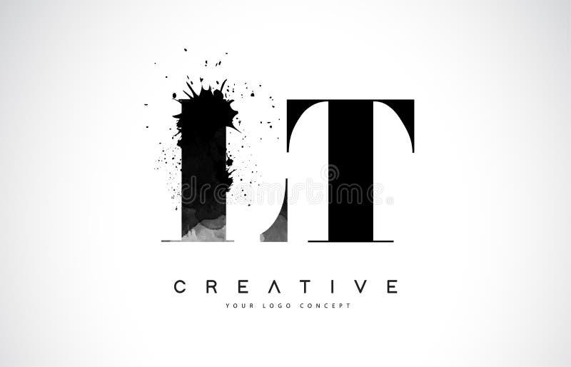 LT L T Letter Logo Design con derramamiento negro del chapoteo de la acuarela de la tinta libre illustration