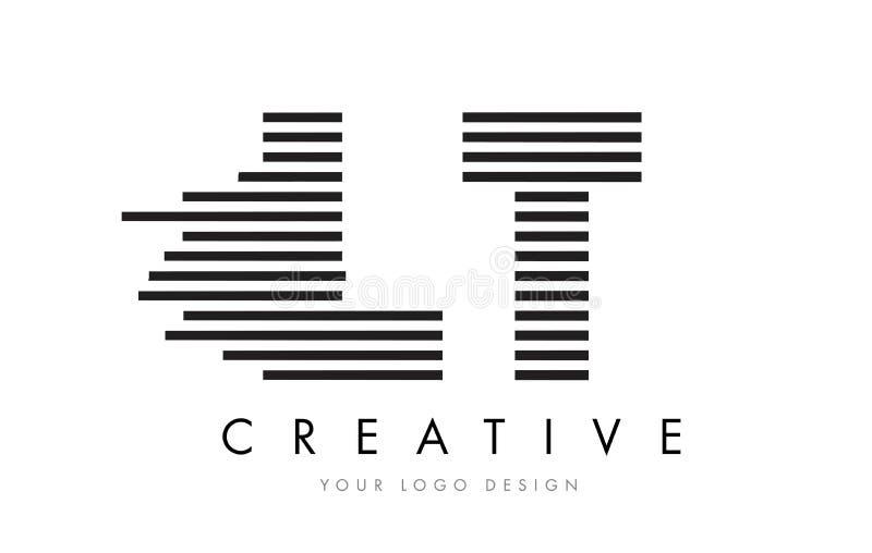LT L T Zebra Letter Logo Design with Black and White Stripes stock illustration