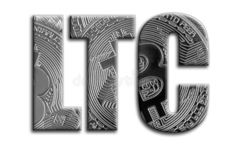 ltc Η επιγραφή έχει μια σύσταση της φωτογραφίας, η οποία απεικονίζει διάφορα ασημένια bitcoins στοκ φωτογραφία