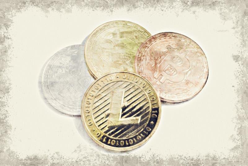 LTC Litecoin złocista moneta i Bitcoin na białym tle z kopią ilustracji