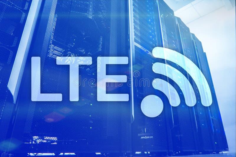 LTE, Draadloze Zaken Internet en Virtueel Werkelijkheidsconcept Informatiecommunicatietechnologie op een serverachtergrond royalty-vrije stock afbeeldingen