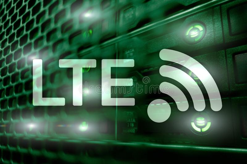 LTE, 5g wireless internet technology concept. Server room royalty free stock photography