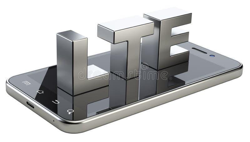 LTE-Zeichen auf intelligentem Telefonschirm Bewegliche Netzhochgeschwindigkeitstechnologie stock abbildung