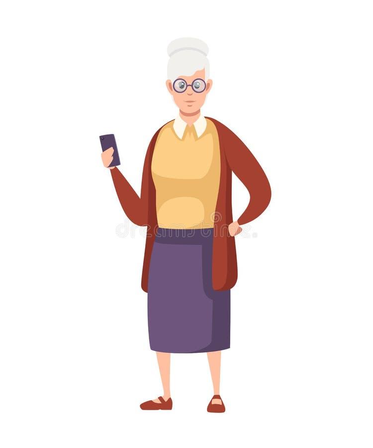 ?ltere Frau in der zuf?lligen Kleidung Alt mit Gläsern halten Sie Smartphone Gro?mutterstellung Zeichentrickfilm-Figur-Design Fla stock abbildung
